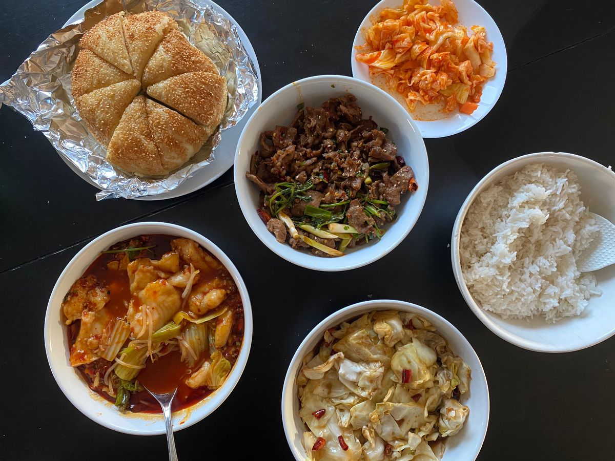 A spread of dishes from Sichuan Style