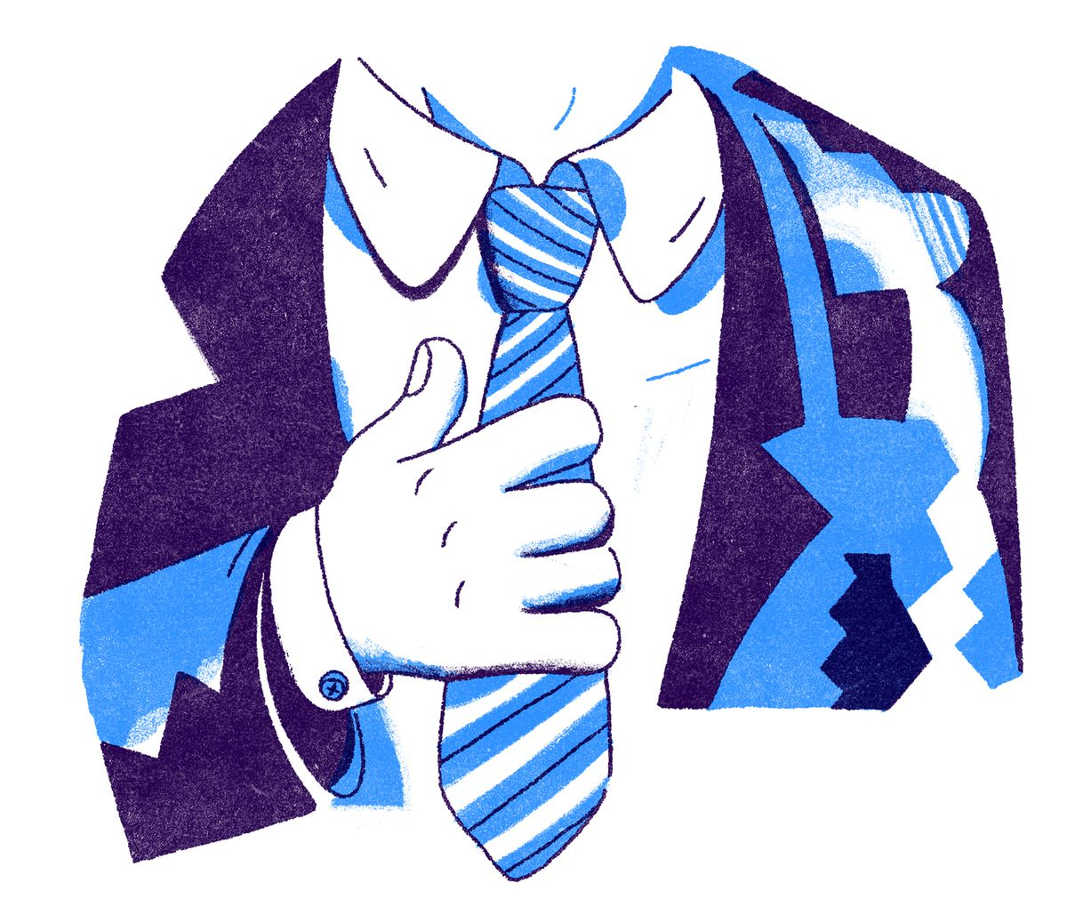 A close-cropped image of a dapper man straightening his tie. Illustration.