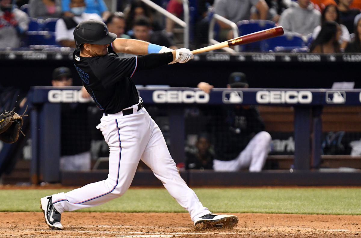 Miami Marlins catcher Nick Fortes (84) hits a two-run home run during the fifth inning against the Pittsburgh Pirates at loanDepot Park.
