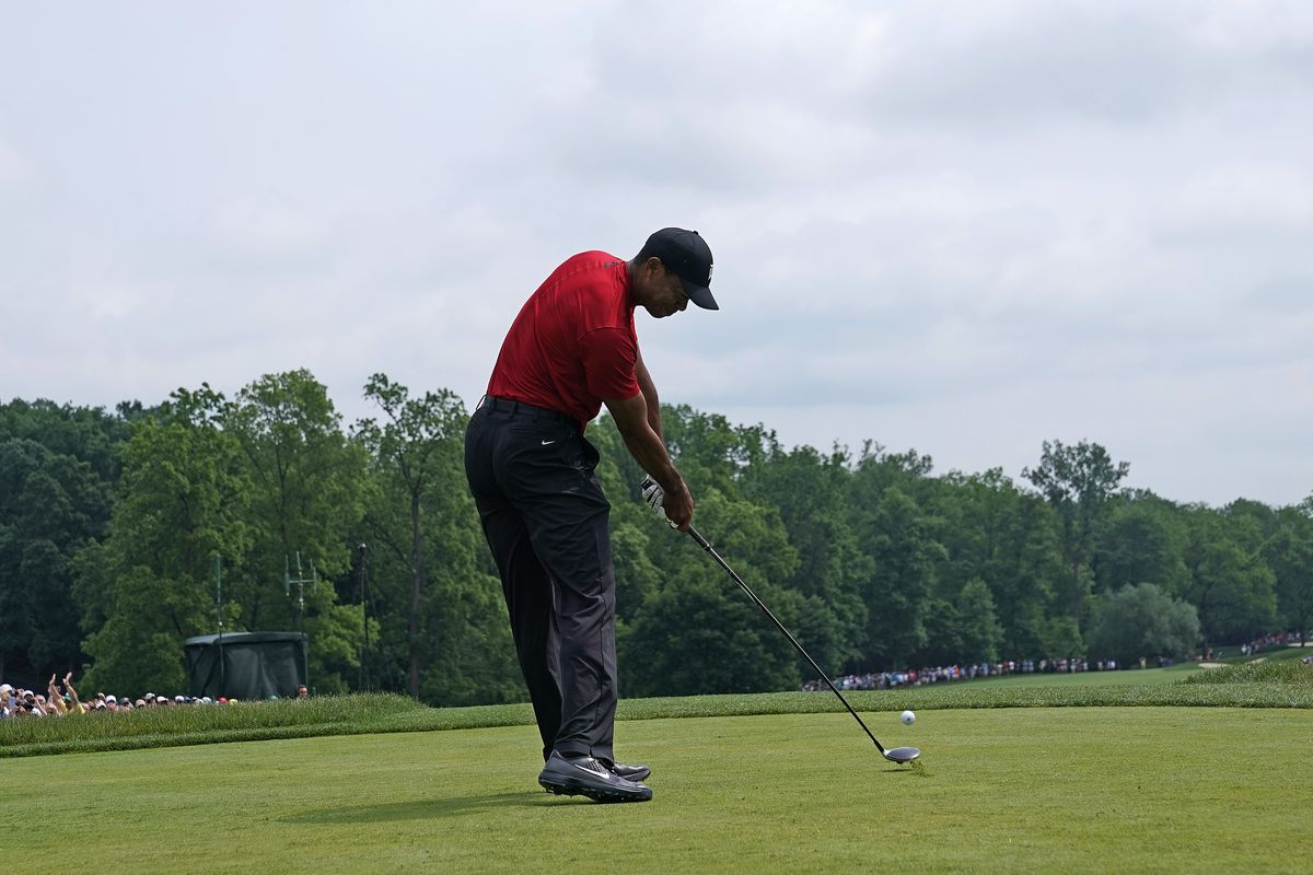 Tiger Woods plays a shot during the final round of The Memorial Tournament Presented By Nationwide at Muirfield Village Golf Club on June 02, 2019 in Dublin, Ohio.