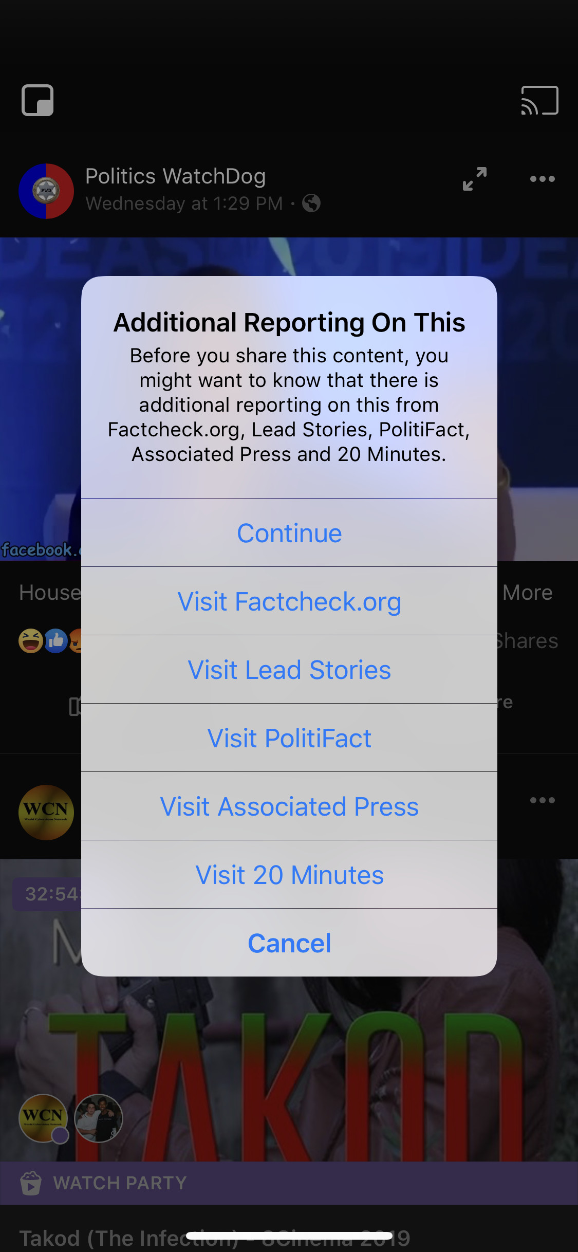 Facebook begins telling users who try to share distorted