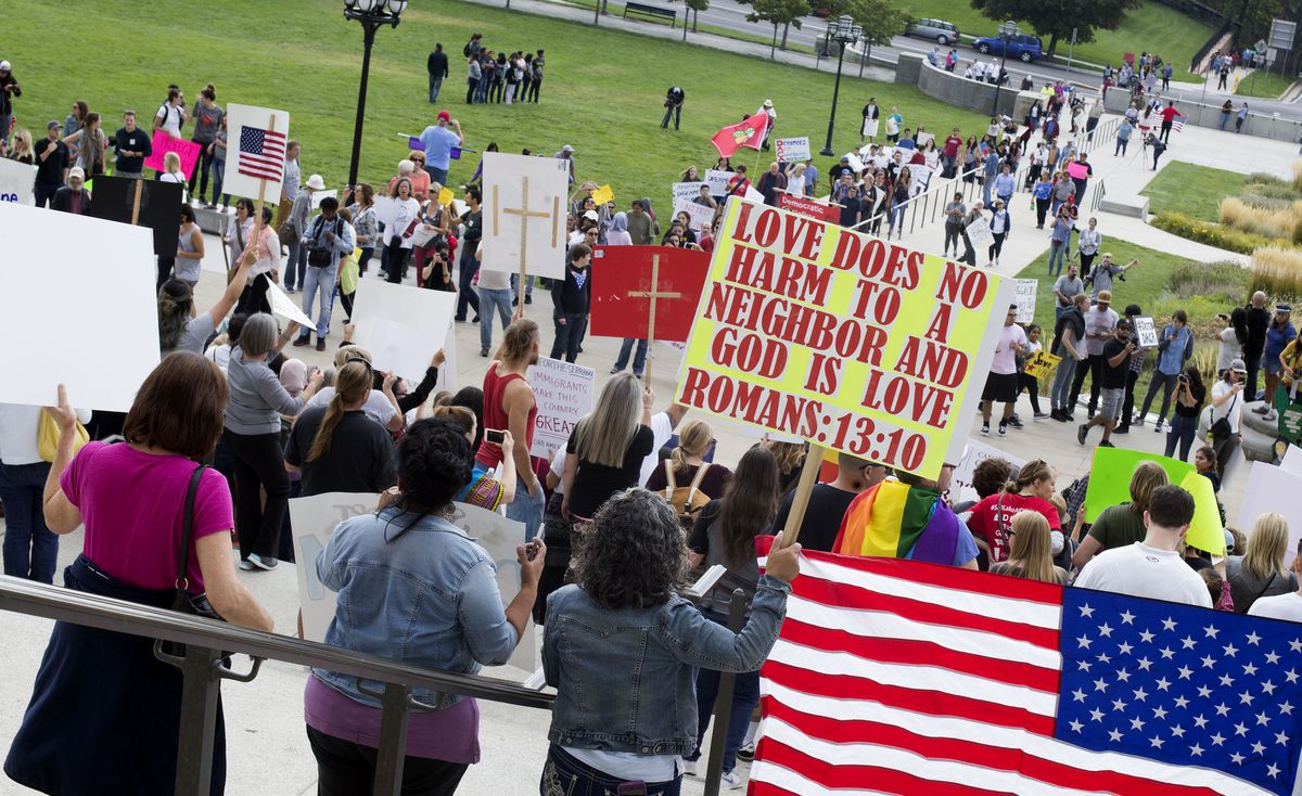 """Supporters of the Deferred Action for Childhood Arrivals program march to the Capitol during the """"We Are All DREAMers"""" rally in Salt Lake City on Sept. 16, 2017."""