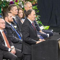 Utah Gov. Garry Herbert speaks at funeral services for Unified police officer Doug Barney at the Maverik Center in West Valley City on Monday, Jan. 25, 2016.