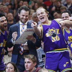 Utah Jazz fans Ray Percell, Dan MCkean, Chris McConnel and Stevo Brown have some fun in Salt Lake City on Thursday, Dec. 21, 2017. Utah won 100-89.