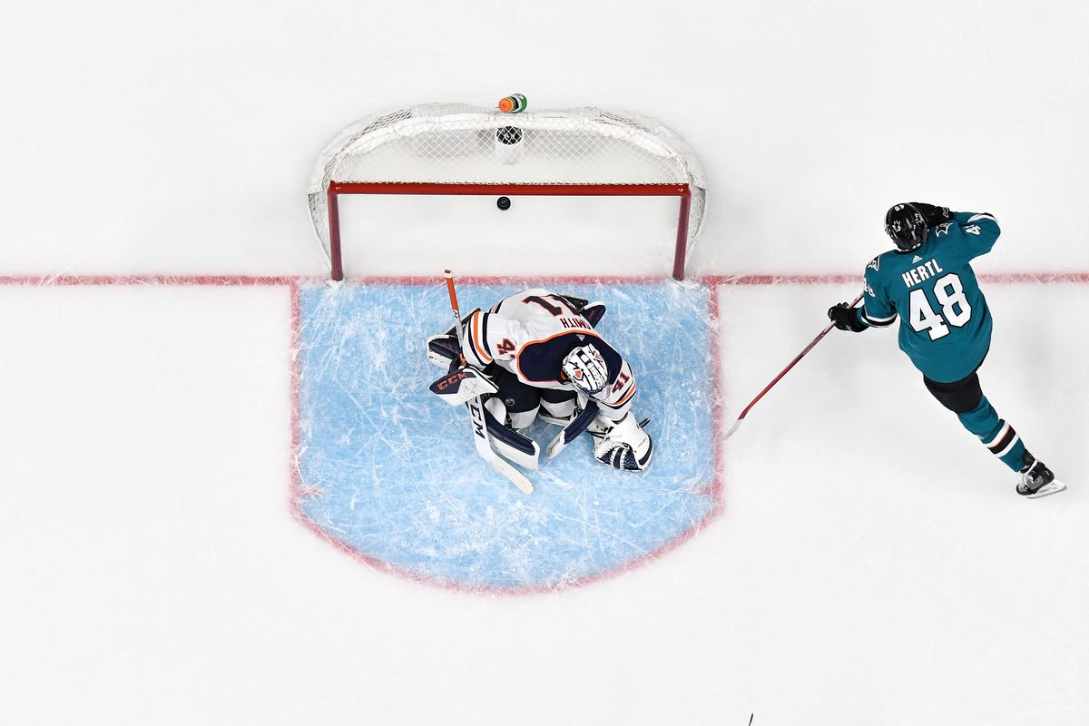 An overhead view as Tomas Hertl #48 of the San Jose Sharks scores a goal against Mike Smith #41 of the Edmonton Oilers at SAP Center on November 12, 2019 in San Jose, California.