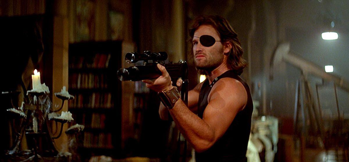 Kurt Russell as Snake Plisken in Escape from New York.