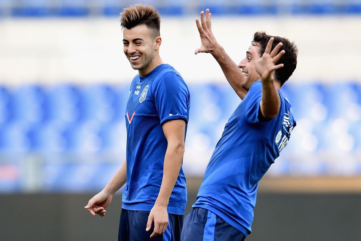 El Shaarawy and Bonaventura having fun during Italy's training in October.
