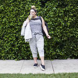 Leisure jacket in gray space dye heather, $27.99; leisure jogger in gray space dye heather, $24.99; tank top in gray space dye, $19.99