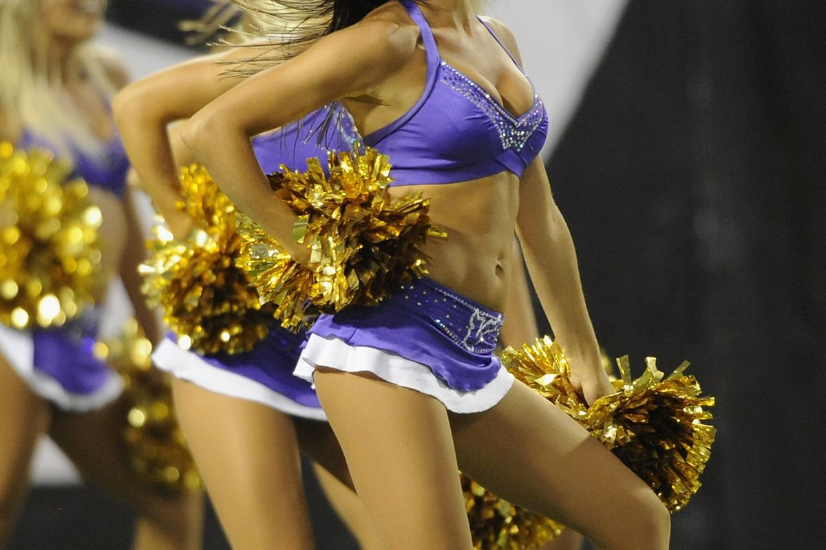 Usually the pictures of cheerleaders are Eric's thing, but I'm attempting to not spoil things for the folks that haven't seen last night's game yet. (Photo by Hannah Foslien/Getty Images)