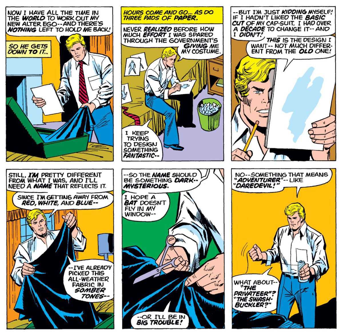Steve Rogers sketches his new costume, and starts cutting and sewing fabric for it, in Captain America #180, Marvel Comics (1974).