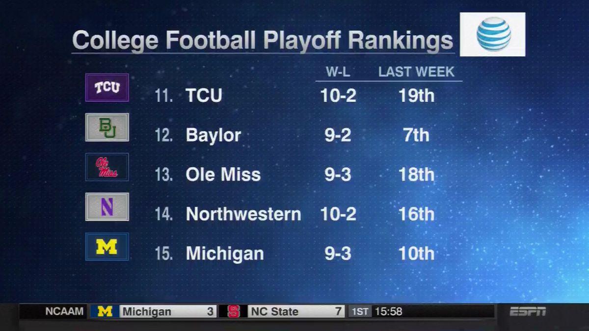 CFP Rankings 12/1