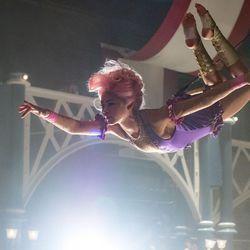 "Philip (Zac Efron) is entranced by Anne's (Zendaya) trapeze artistry in Twentieth Century Fox's ""The Greatest Showman."""