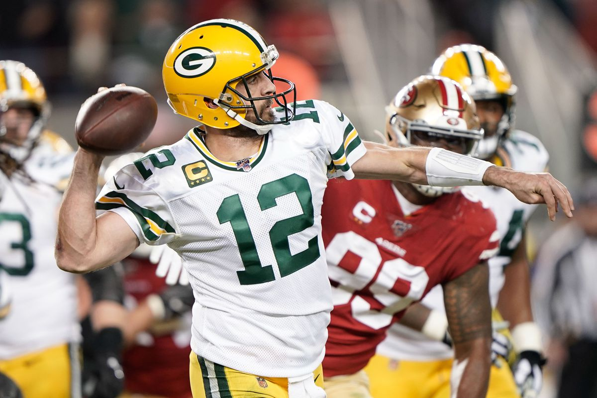 Green Bay Packers quarterback Aaron Rodgers throws the football against the San Francisco 49ers during the second quarter at Levi's Stadium.