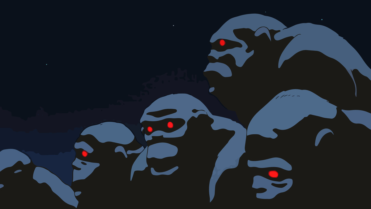 several apes with red eyes