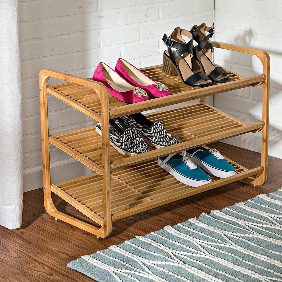 Bamboo shoe rack.