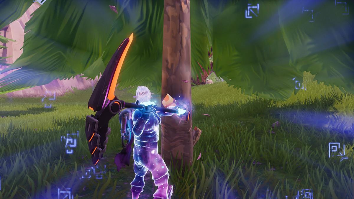 Strange runes float around a Fortnite character