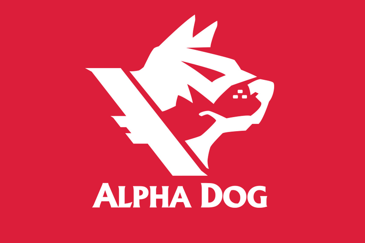 The Alpha Dog Games logo on top of a red background
