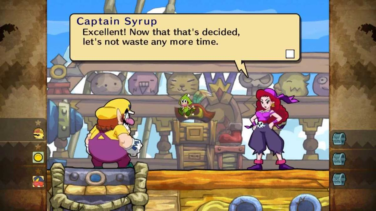 Wario Land: Shake It! - Captain Syrup, a pirate wearing purple garb, confronts Wario on her ship.