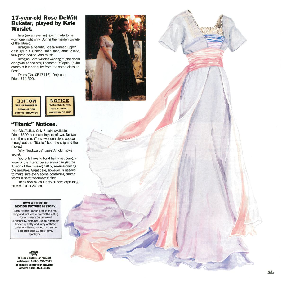 A J. Peterman Company catalog featuring a dress worn by Kate Winslet in Titanic.