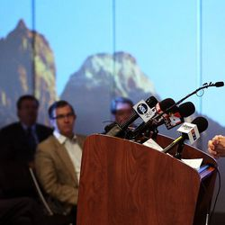 Salt Lake City International Airport Director Maureen Riley speaks as new terminal design details are unveiled in Salt Lake City, Tuesday, Sept. 29, 2015.