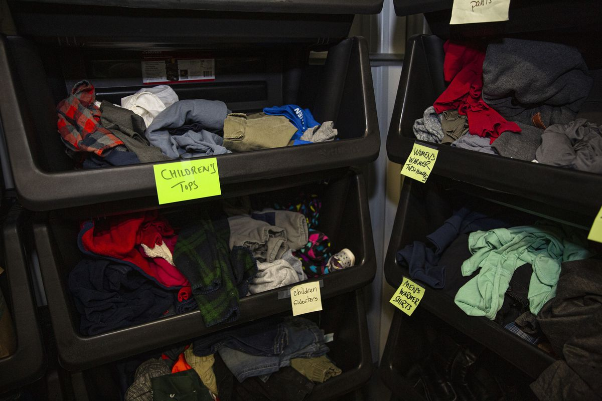 Clothing for immigrants arriving in Chicago from the border at a storage unit South Loop, Wednesday, April 21, 2021.