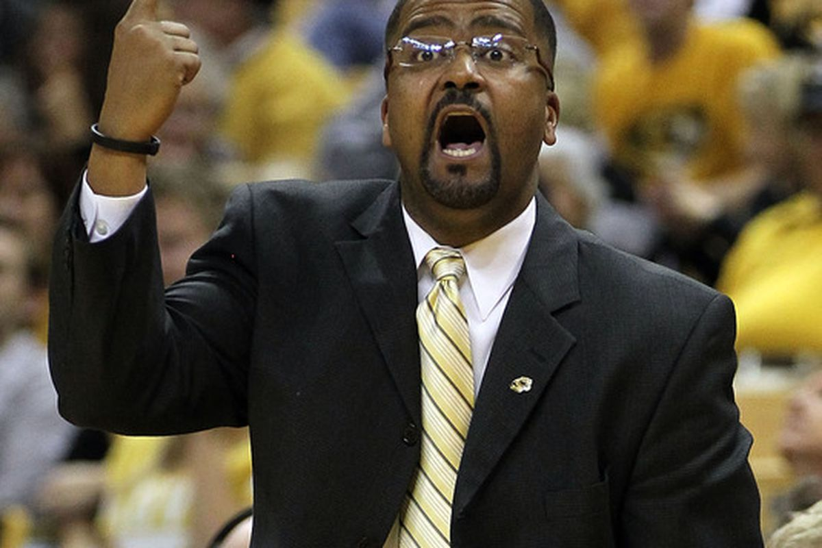 COLUMBIA, MO - NOVEMBER 17:  Head coach Frank Haith of the Missouri Tigers reacts during the game against the Niagara Purple Eagles on November 17, 2011 at Mizzou Arena in Columbia, Missouri.  (Photo by Jamie Squire/Getty Images)