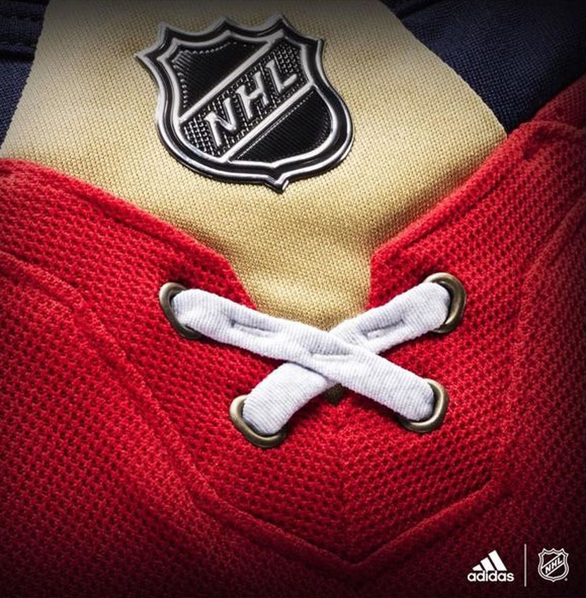The Panthers' unique Florida flag-inspired lacing returns but it sits in  front of the NHL Shield logo which now lies on top of ...