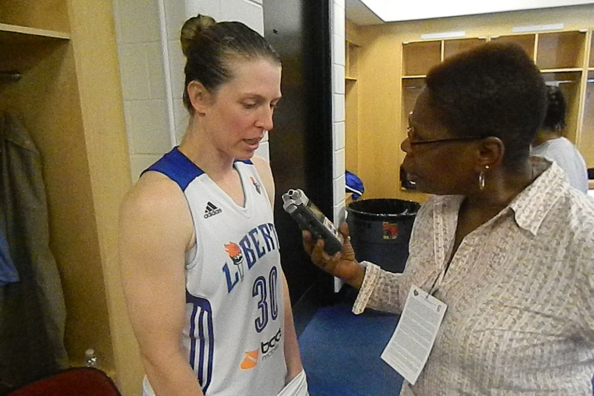 Katie Smith being interviewed in the locker room after the New York Liberty's win over the Atlanta Dream.