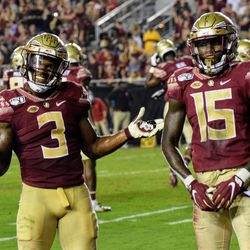 JR RB Cam Akers and SO WR Tamorrion Terry pose for the photo op after a big TD catch by Terry.