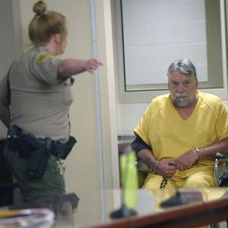"""Patrick Michael McCabe, 60, enters 3rd District Judge Paul Parker's courtroom in Salt Lake City on Wednesday, June 7, 2017, for sentencing. McCabe pleaded guilty to first-degree felony counts of murder and aggravated burglary in the December 1977 slaying of 16-year-old Sharon """"Lecia"""" Schollmeyer at her Salt Lake apartment. McCabe was recently linked to the crime by DNA."""