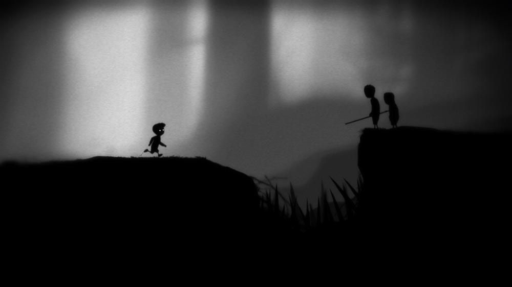 A boy runs across a black and white landscape towards two people