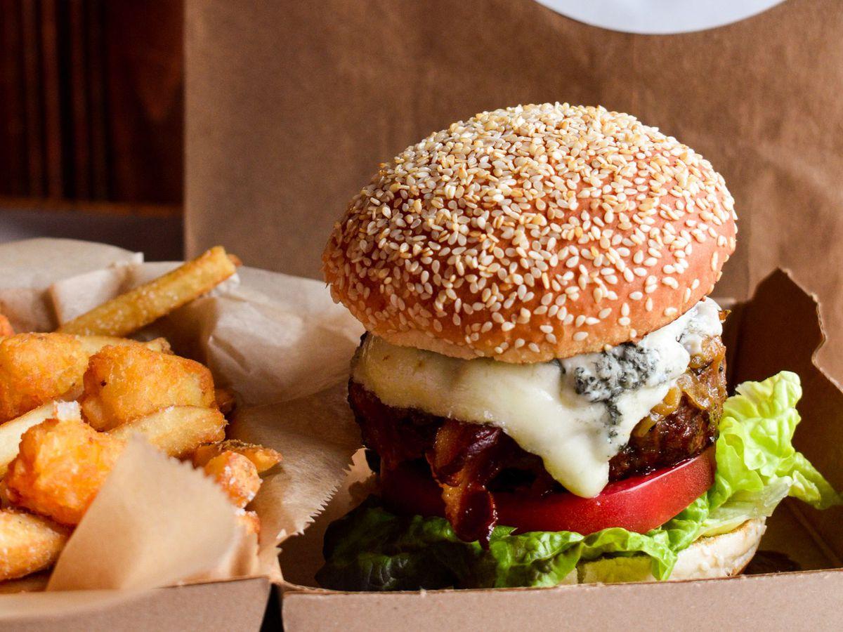 A bacon blue burger from 43 Burger
