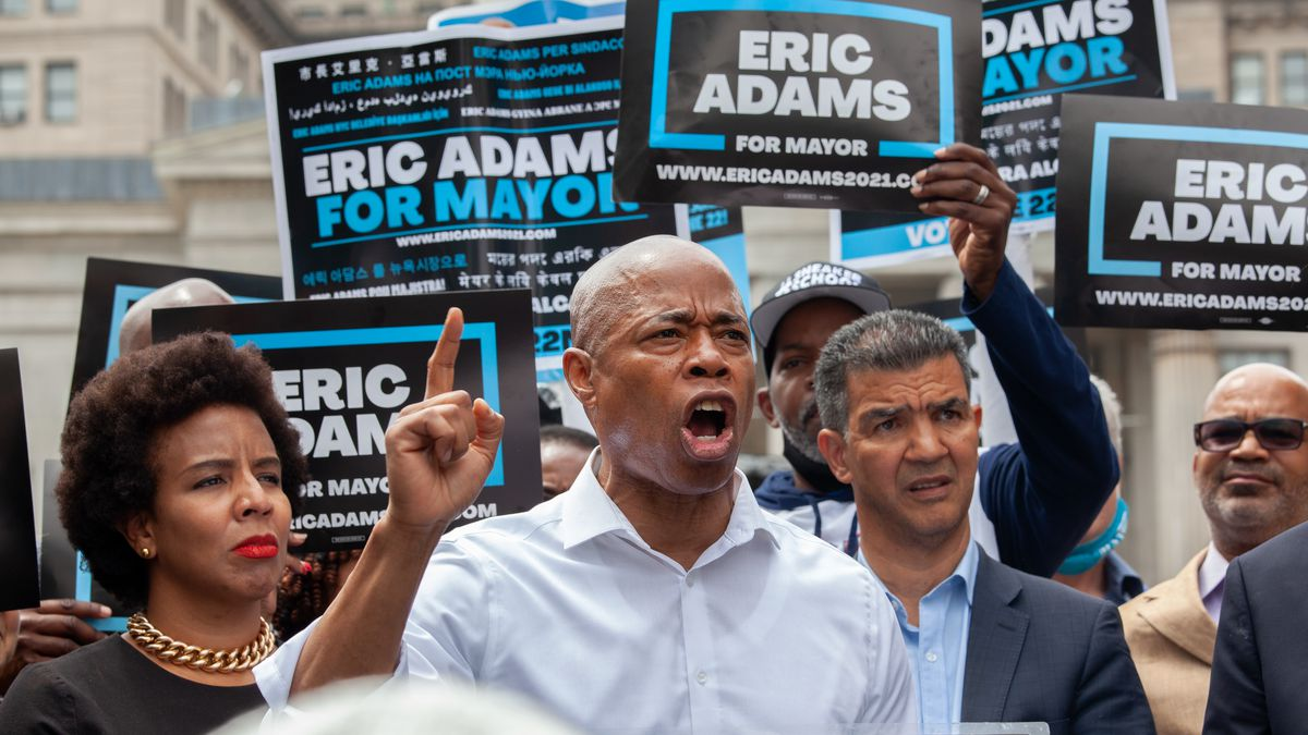 Mayoral candidate and Brooklyn Borough President Eric Adams held a campaign rally in front of his office on Wednesday, June 2, 2021.