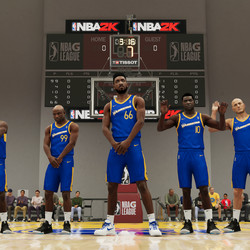 """From left: Shammy Wells (<em>NBA 2K18</em>), Jackson Ellis (<em>NBA 2K14</em>), player-character Vespasian King, Sheldon """"ATM"""" Middleton (<em>NBA 2K19</em>), and Andre """"Vlad the Impaler"""" Hagi <em>(NBA 2K19</em>)""""></noscript> </span> <span class="""