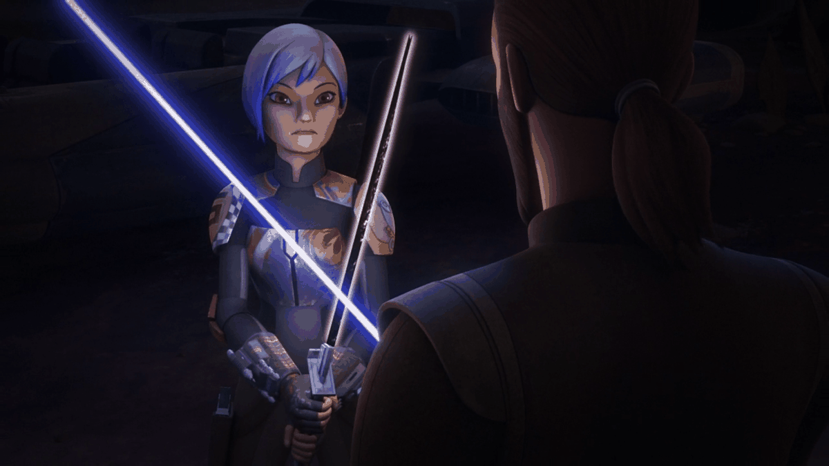"""Trials of the Darksaber,"" Star Wars: Rebels, season 3 : Sabine holds the darksaber"