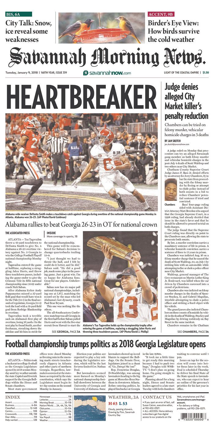 Alabama national championship newspaper covers after Tide