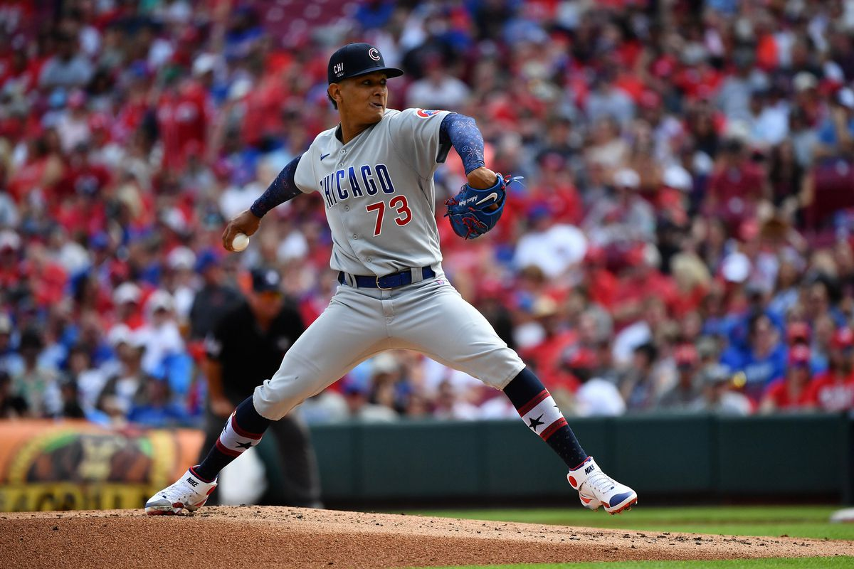 Adbert Alzolay #73 of the Chicago Cubs pitches against the Cincinnati Reds at Great American Ball Park on July 3, 2021 in Cincinnati, Ohio.