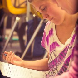 Students work on a worksheet during Diana Graber's cyber civics course.