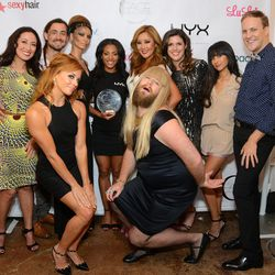 The NYX FACE Awards' judges, emcees and host pose with Top Vlogger Missy Lynn and her makeup model. Image via Getty Images