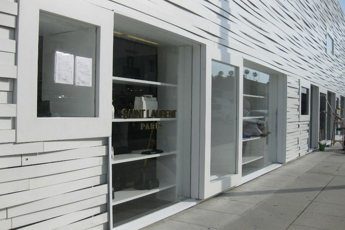"""Exterior of Saint Laurent's <a href=""""http://la.racked.com/archives/2013/05/09/saint_laurent_revamping_rodeo_shop_opens_temp_store.php"""">temporary shop</a> in Beverly Hills."""