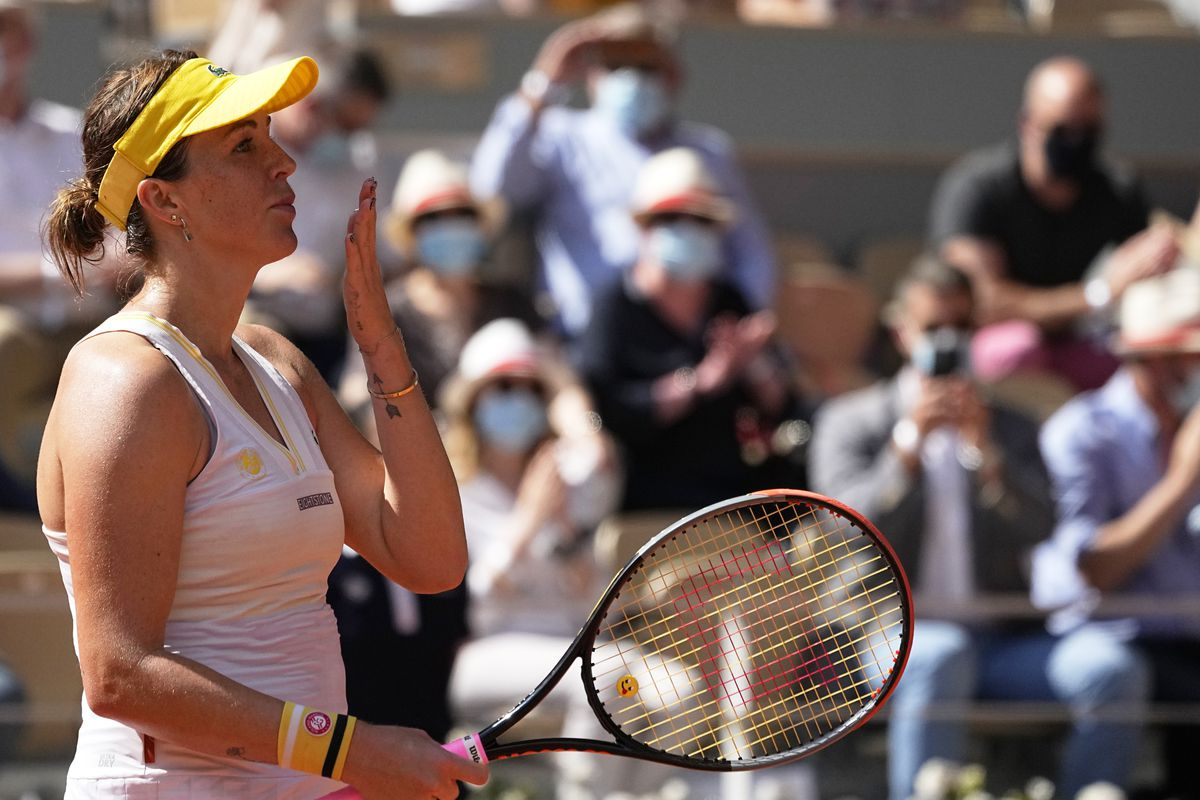 Anastasia Pavlyuchenkova throws a kiss to the audience after defeating Tamara Zidansek in their French Open semifinal match.