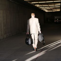 Brigham Young Cougars head coach Bronco Mendenhall walk down the tunnel as BYU and Missouri prepare to play at Arrowhead Stadium in Kansas City Missouri Saturday, Nov. 14, 2015.