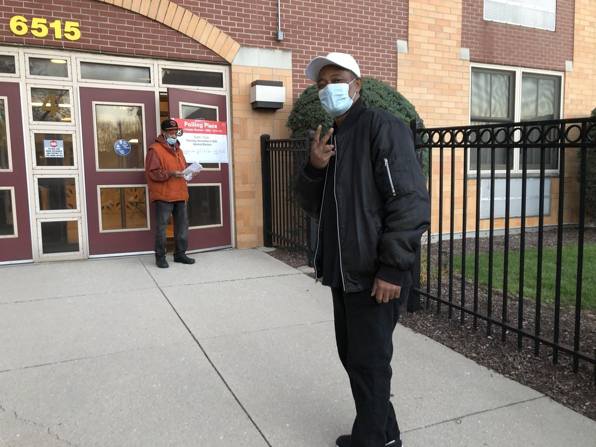 """John Tremble, 60, of Englewood, votes at the 16th Ward's 9th precinct at Providence Englewood High School, 6515 S. Ashland Ave. """"Trump has got to go. Enough with the racism. Enough with a president who has no idea what he's doing. We're going to get the right man into the White House,"""" he said."""