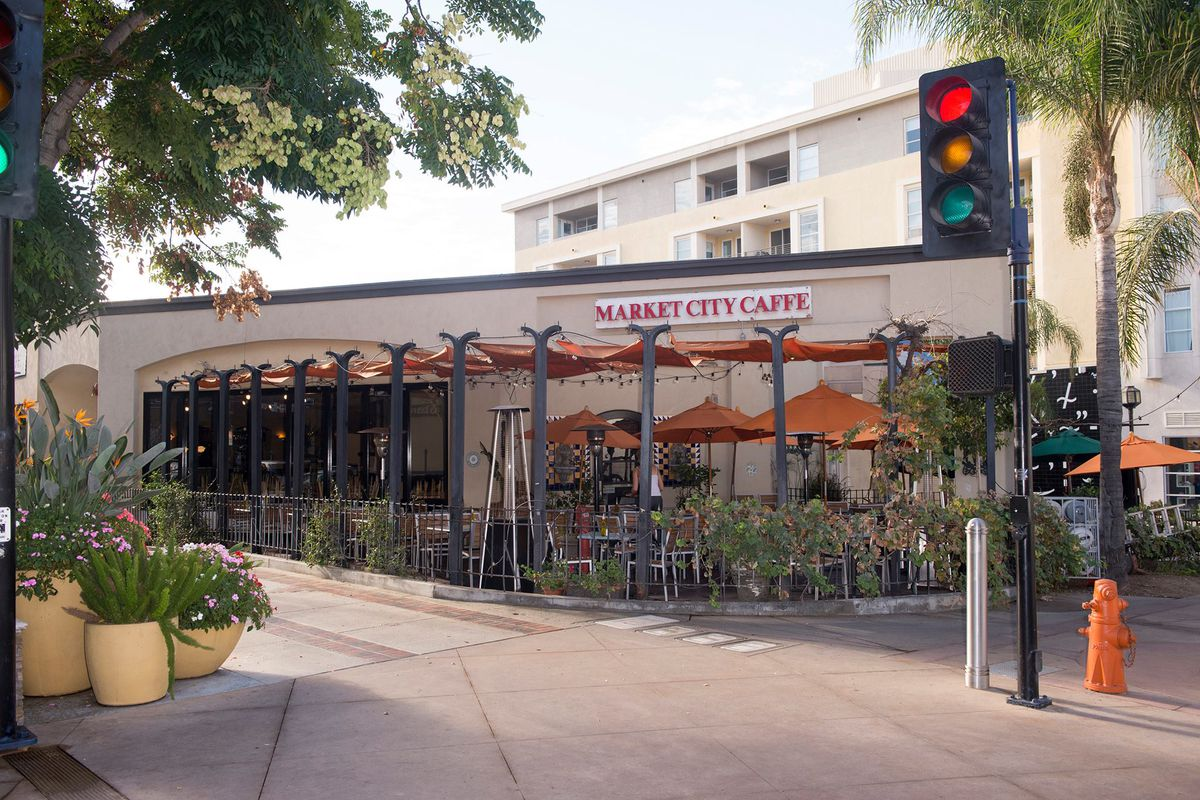The now-closed Market City Caffe, from the front, with its patio.