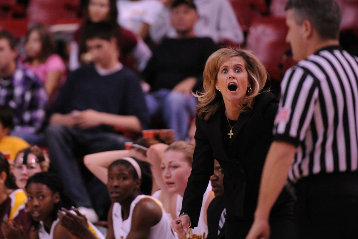 Arizona State University coach Charli Turner Thorne reacts to a call during a 74-56 loss to UCLA on Sunday afternoon. UCLA led from start to finish on it's way to their 4th consecutive win. <em>(Photo by Max Simbron)</em>