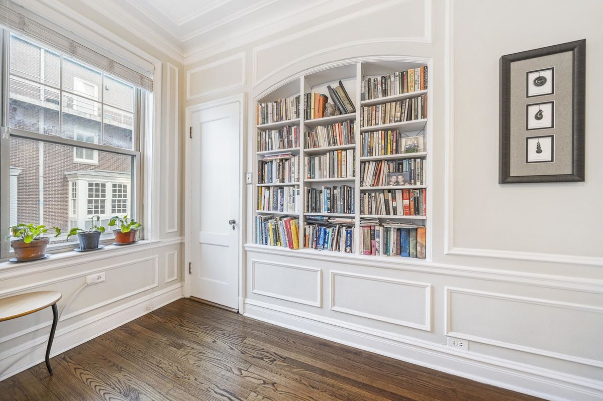 A view of the bookshelf in the corner of the living room. There is a large window and potted plants.