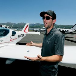 Jason Clark, of Bountiful, demonstrates a preflight walk around a plane as he talks with members of the media during the Skypark Aviation Festival and Expo at Skypark Airport in Woods Cross on Friday, June 2, 2017. The expo is Utah's largest annual aviation event.