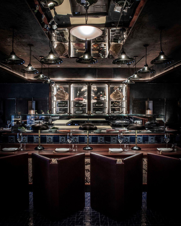 A dark restaurant