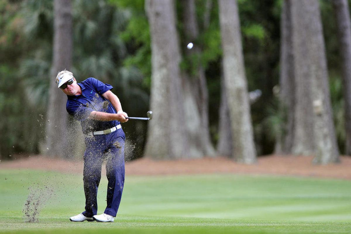 Carl Pettersson hits from on the ninth fairway during the third round of the RBC Heritage golf tournament in Hilton Head Island, S.C., Saturday, April 14, 2012.