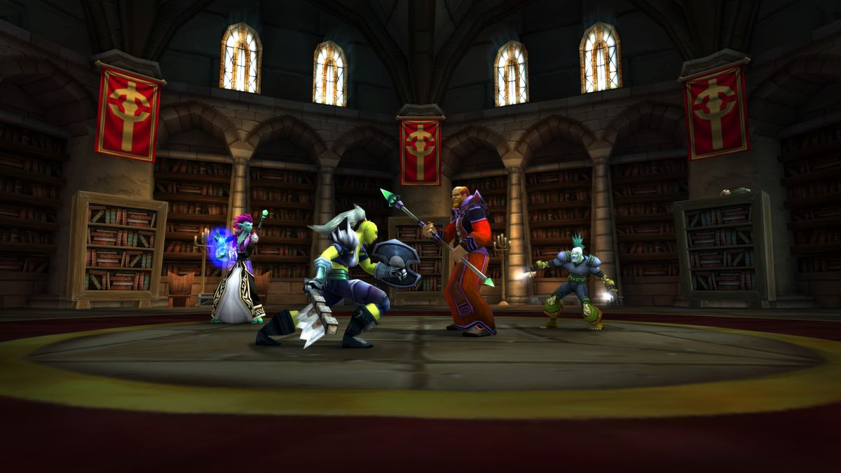 a collection of players get ready to fight inside a library in World of Warcraft Classic